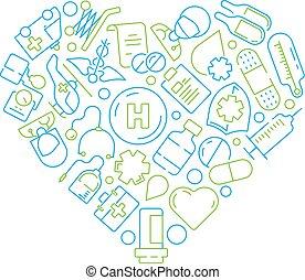 概念, symbols., 医者, 薬, 形, ベクトル, 健康, 背景, ヘルスケア, 薬, 円, 丸薬, アイコン
