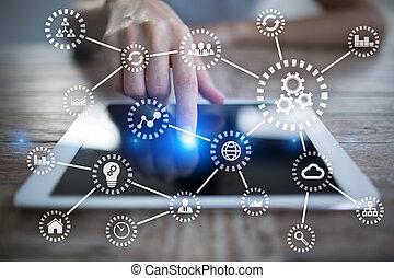 概念, things., 現代, オートメーション, iot., インターネット技術