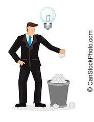 概念, trashbin, オフィス, いいえ, 考え, business., 彼の, ペーパー, ビジネスマン, 漫画, bulb., 投球, unlighted