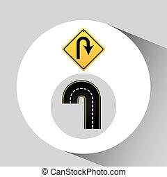 概念, u-turn, 圖表, 路標