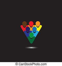 概念, ve, カラフルである, 人々, 提示, &, -, 共同体, 統一, 完全性