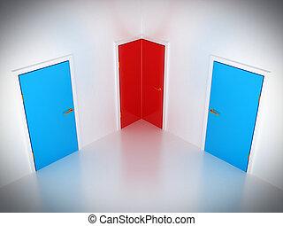 概念, way:, ドア, 選択, コーナー