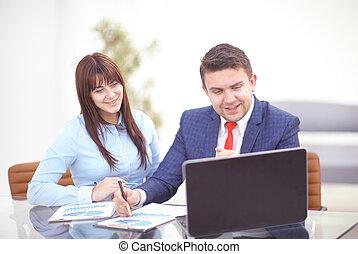 概念, work., ビジネス, 女性実業家, ビジネスマン, 論じなさい