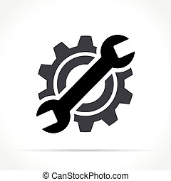 概念, wrench, 齿轮, 图标