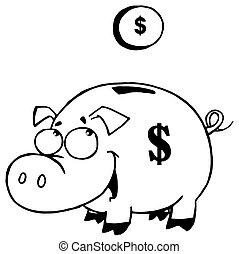 概説された, コイン, 貯金箱