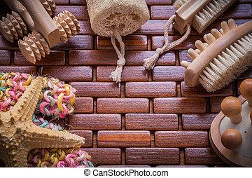 構成, の, 浴室, 付属品, 上に, チェックされた, 木製のテーブル, マット, saun