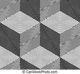 構成, グラフィック, interweave, パターン, 絶え間がない, seamless, 対称的, 黒, 使用, ...