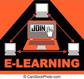 構成, グループ, 参加しなさい, ボタン, コンピュータ, 手, シンボル, ポインター, 矢, 三角形, e 勉強, 旗