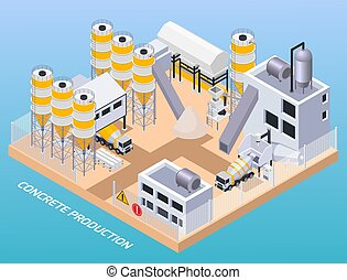 構成, コンクリート, 生産, 工場