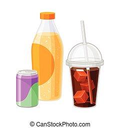 構成, ソーダ, 光っていること, 白, ベクトル, びん, 缶, 背景, 隔離された