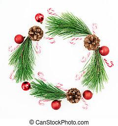 構成, ブランチ, キャンデー, 陽気, 杖, 位置, 赤, クリスマス, ボール, 平ら, 光景, 上, white., 松, 装飾