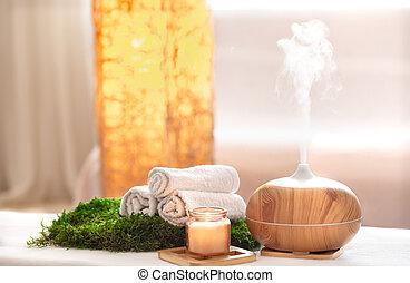 構成, 心配, 体, エステ, items., aromatherapy