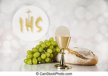 構成, 聖餐, 隔離された, 神聖, 白, 金, 聖杯