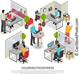 構成, coworking, プログラマー, 等大, スペース