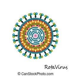 構造, カラフルである, 当番表, 隔離された, 微片, ウイルス