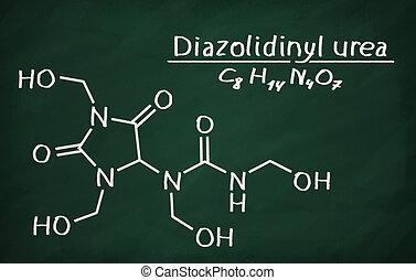 構造, モデル, の, diazolidinyl, 尿素