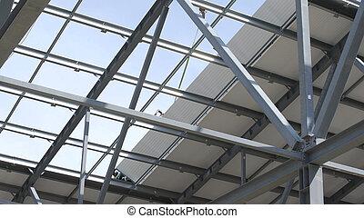 構造, 倉庫, warehouse., 建設, 人, ∥あるいは∥, 鋼鉄, 工場, サイト, 仕事, 現代, 新しい, 建物, 下がる, 構造, 屋根, コマーシャル, roofing., against., クレーン