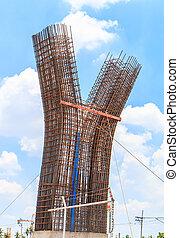 構造, 柱, 高速道路, 建設