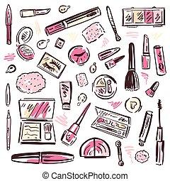 構造, set., cosmetics.