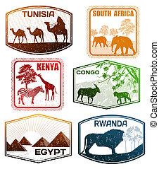 様々, アフリカ, 国, スタンプ