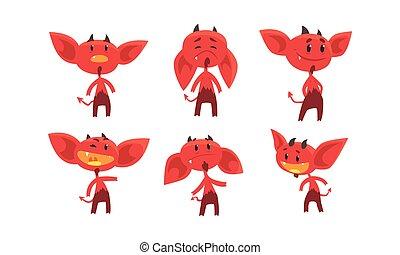 様々, イラスト, 悪魔, コレクション, 行動, かわいい, 悪魔, 漫画, 赤, 特徴, ベクトル, 感情, 面白い