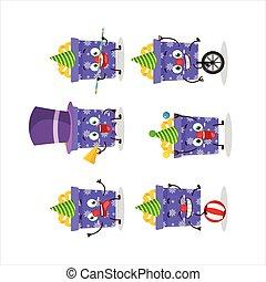 様々, クリスマス, ショー, 漫画, 特徴, 贈り物, 紫色, サーカス