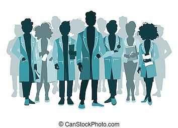 様々, シルエット, スタッフ, チーム, グループ, 病院医者, 医学, poses., 人々, concept.