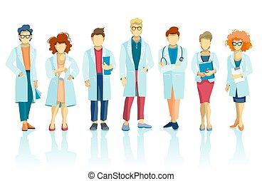 様々, スタッフ, チーム, 特徴, グループ, 病院医者, 医学, 人々, poses., concept.