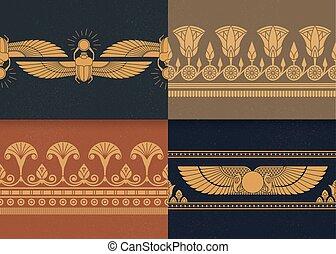 様々, セット, エジプト人, イラスト, 4, 装飾, ベクトル, seamless, 背景, 国民