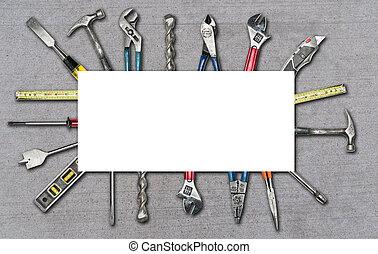 様々, 使われた, 道具, 上に, コンクリート, 背景