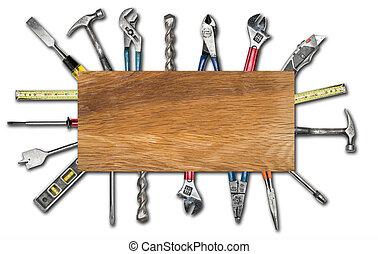 様々, 使われた, 道具, 白, 背景