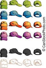 様々, 帽子, 角度, テンプレート