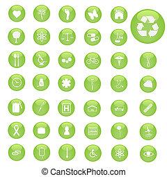 様々, 緑, 雑多, ボタン, icons.