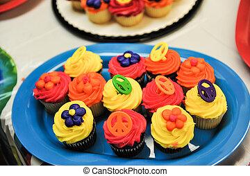 様々, cupcakes, 上に, a, プレート