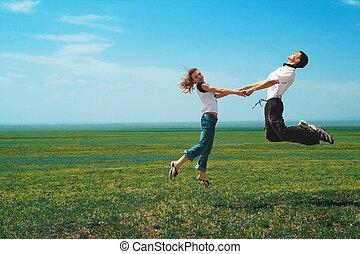 樂趣, 夫婦, 在, 跳躍, 上, the, 領域