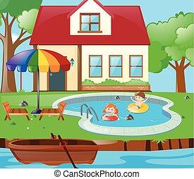 樂趣, 孩子, 二, 池, 有