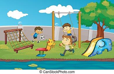 樂趣, 孩子, 公園, 有