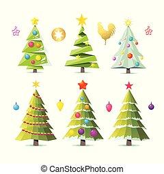 樅樹, 不同, 集合, collection., 被隔离, 樹, 被風格化, 雅致, 矢量, 設計, white., 樹。, 變型, 一些, 聖誕節, 元素