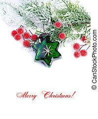 樅樹, 分支, 星, 裝飾, 背景, 球, 白色, 聖誕節