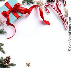 樅樹, 分支, 樹, 裝飾品, 禮物, 背景, 白色, 聖誕節