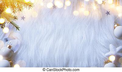 樅樹, 分支, 背景, 套間, 裝飾, 位置, 樹, 假期, 作品, 光, 白色, 看法, 頂部, 聖誕節
