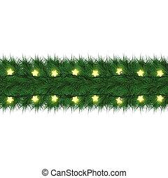 樅樹, 分支, 花環, lights., 新, 聖誕節, 發光, 年, 星, design., 聖誕節, 卡片, 愉快
