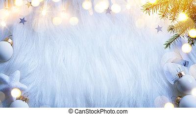 樅樹, 分支, background;, 套間, 裝飾, 位置, 樹, 假期, composition;, 光, 白色, 看法, 頂部, 聖誕節