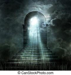 樓梯, 主要, 到, 天堂, 或者, hell., 光, 在結束時, the, 大桶