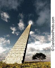樓梯, 到, the, 天空