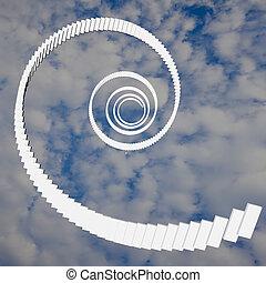 樓梯, 在, 天空