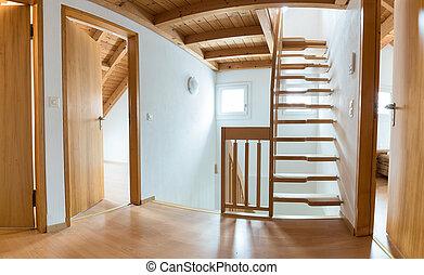 樓梯, ......的, 多層, 公寓, 空, 以及, 准備好, 為, 移動, 進, 以後, 整修, 以及, 革新,...