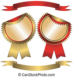 標籤, 集合, 帶子, (vector), golden-red