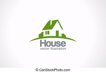 標識語, 房子, 摘要, 房地產, countryside., 不動產, icon.