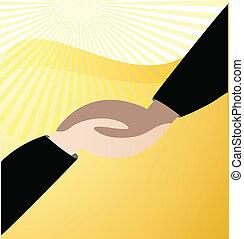 標識語, 矢量, 握手, 事務